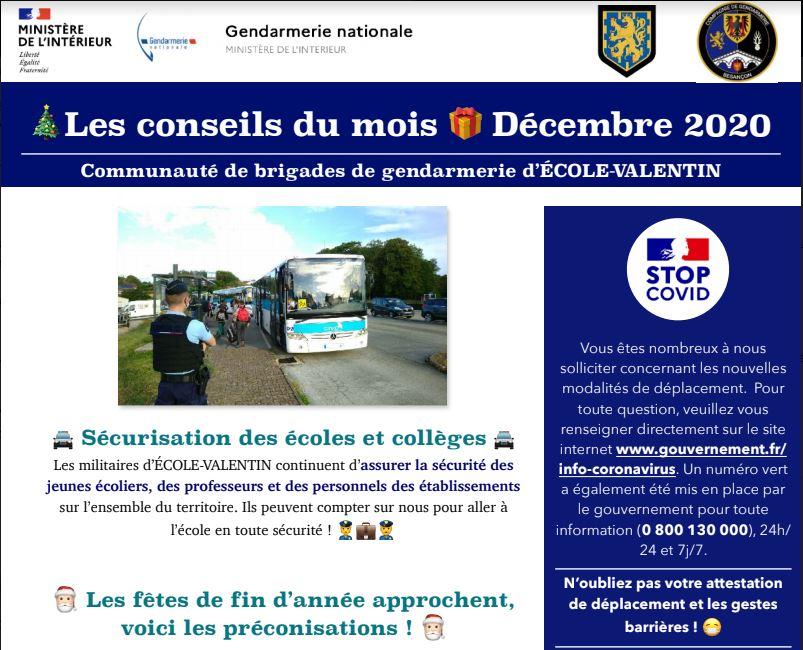Infos gendarmerie décembre 2020